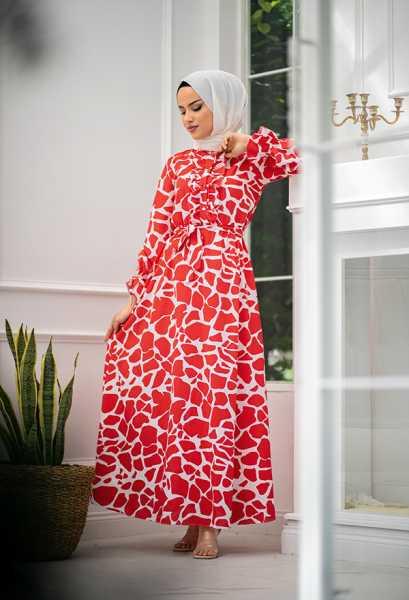 VENEZİA WEAR - Venezia Wear Yazlık Kuşaklı Elbise - Kırmızı (1)