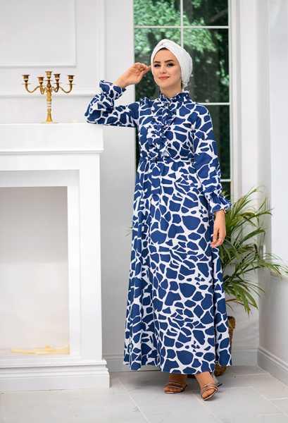 VENEZİA WEAR - Venezia Wear Yazlık Kuşaklı Elbise - Mavi (1)