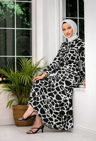 VENEZİA WEAR - Venezia Wear Yazlık Kuşaklı Elbise - Siyah (1)