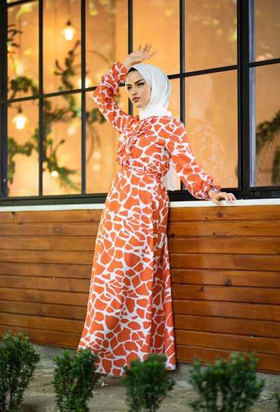 VENEZİA WEAR - Venezia Wear Yazlık Kuşaklı Elbise - Turuncu (1)