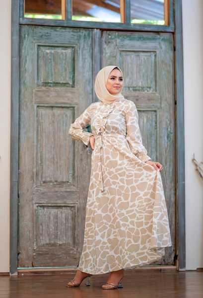 VENEZİA WEAR - Venezia Wear Yazlık Kuşaklı Elbise - Vizon (1)