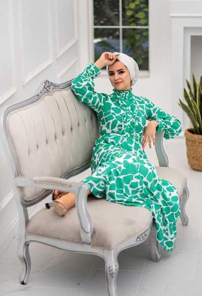 VENEZİA WEAR - Venezia Wear Yazlık Kuşaklı Elbise - Yeşil (1)
