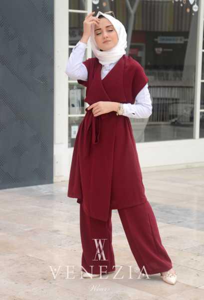 VENEZİA WEAR - Venezia Wear Yelekli Pantolon Takım - Bordo (1)