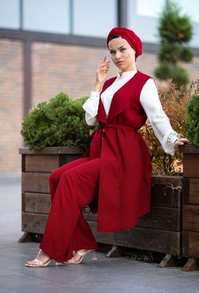 VENEZİA WEAR - Venezia Wear Yelekli Tesettür Takım - Kırmızı (1)