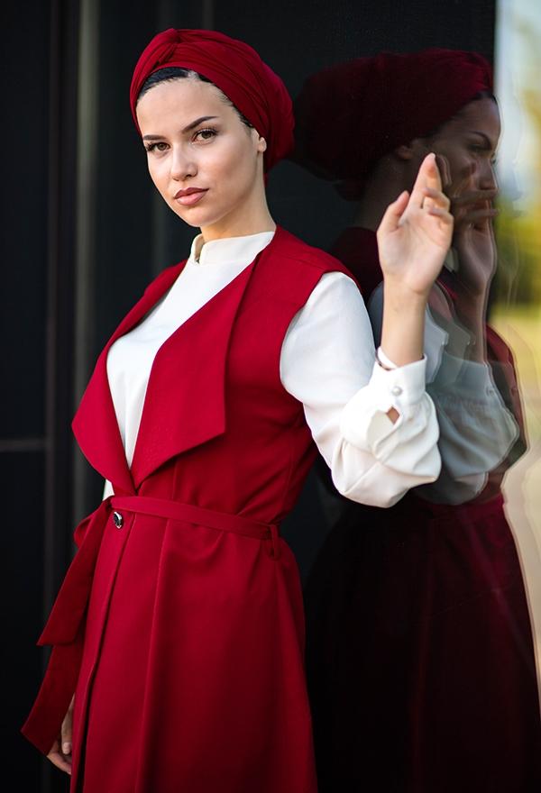 Venezia Wear Yelekli Tesettür Takım - Kırmızı