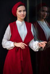 Venezia Wear Yelekli Tesettür Takım - Kırmızı - Thumbnail